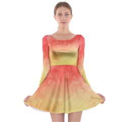 Ombre Orange Yellow Long Sleeve Skater Dress by BrightVibesDesign