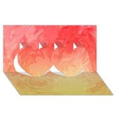 Ombre Orange Yellow Twin Hearts 3d Greeting Card (8x4)  by BrightVibesDesign