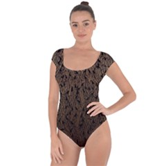 Brown Ombre Feather Pattern, Black,  Short Sleeve Leotard (ladies) by Zandiepants