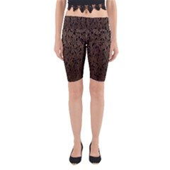 Brown Ombre Feather Pattern, Black,  Yoga Cropped Leggings by Zandiepants