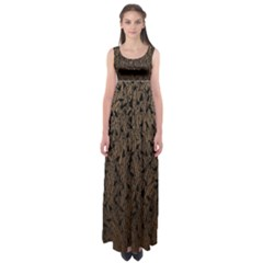 Brown Ombre Feather Pattern, Black,  Empire Waist Maxi Dress by Zandiepants