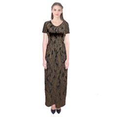Brown Ombre Feather Pattern, Black,  Short Sleeve Maxi Dress