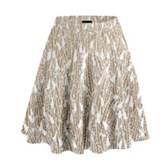 Brown Ombre Feather Pattern, White, High Waist Skirt by Zandiepants