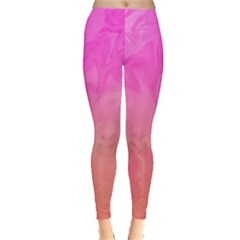 Ombre Pink Orange Leggings  by BrightVibesDesign