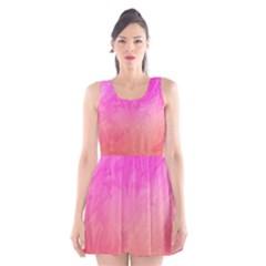 Ombre Pink Orange Scoop Neck Skater Dress