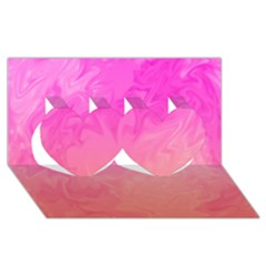 Ombre Pink Orange Twin Hearts 3d Greeting Card (8x4)  by BrightVibesDesign