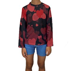 Red Hearts Kid s Long Sleeve Swimwear by TRENDYcouture
