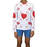 Centered Heart Kid s Long Sleeve Swimwear