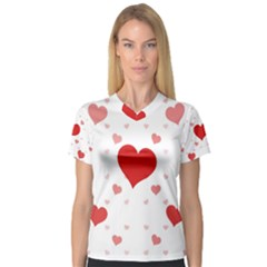 Centered Heart Women s V Neck Sport Mesh Tee