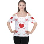 Centered Heart Women s Cutout Shoulder Tee