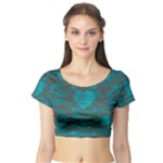 Camo Hearts Short Sleeve Crop Top (Tight Fit)