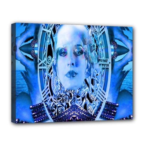 Clockwork Blue Canvas 14  X 11  by icarusismartdesigns