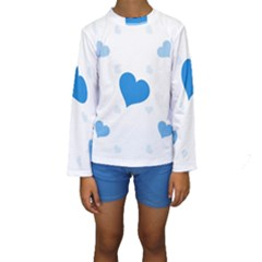 Blue Hearts Kid s Long Sleeve Swimwear by TRENDYcouture