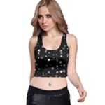 Black and White Hearts Racer Back Crop Top