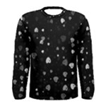 Black and White Hearts Men s Long Sleeve Tee