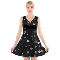 Black and White Hearts V-Neck Sleeveless Skater Dress by TRENDYcouture