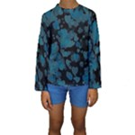 Turquoise Hearts Kid s Long Sleeve Swimwear