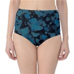 Turquoise Hearts High-Waist Bikini Bottoms