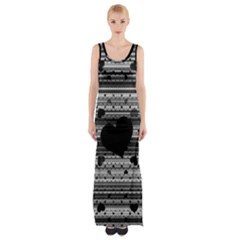 Black And Gray Abstract Hearts Maxi Thigh Split Dress by TRENDYcouture