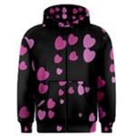 Pink Hearts Men s Zipper Hoodie