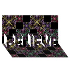 Ornate Boho Patchwork Believe 3d Greeting Card (8x4)  by dflcprints