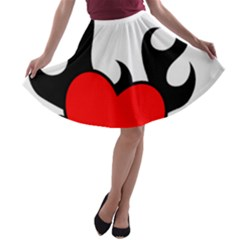 Black And Red Flaming Heart A Line Skater Skirt by TRENDYcouture