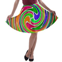 Colorful Whirlpool Watercolors                                                A Line Skater Skirt by LalyLauraFLM