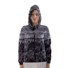 Black And White Landscape Scene Hooded Wind Breaker (women) by dflcprintsclothing