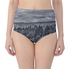 Black And White Landscape Scene High Waist Bikini Bottoms by dflcprintsclothing