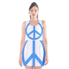 Blue Peace Scoop Neck Skater Dress by TRENDYcouture