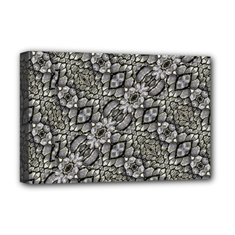 Silver Oriental Ornate  Deluxe Canvas 18  X 12   by dflcprints