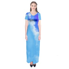 Powder Blue And Indigo Sky Pillow Short Sleeve Maxi Dress by TRENDYcouture
