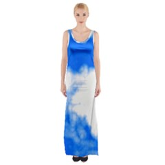 Blue Cloud Maxi Thigh Split Dress by TRENDYcouture