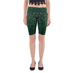Green Ombre Feather Pattern, Black, Yoga Cropped Leggings