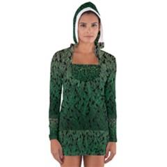 Green Ombre Feather Pattern, Black, Women s Long Sleeve Hooded T Shirt by Zandiepants
