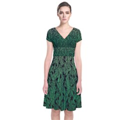Green Ombre Feather Pattern, Black, Wrap Dress by Zandiepants