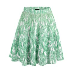 Green Ombre Feather Pattern, White, High Waist Skirt by Zandiepants