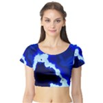 Blues Short Sleeve Crop Top (Tight Fit)