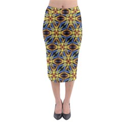Vibrant Medieval Check Midi Pencil Skirt by dflcprintsclothing