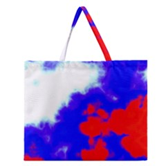 Red White And Blue Sky Zipper Large Tote Bag by TRENDYcouture
