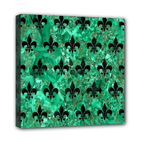 Royal1 Black Marble & Green Marble Mini Canvas 8  X 8  (stretched) by trendistuff