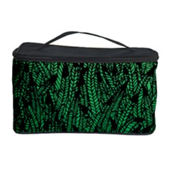 Green Ombre Feather Pattern, Black, Cosmetic Storage Case by Zandiepants