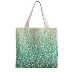 Green Ombre Feather Pattern, White, Zipper Grocery Tote Bag by Zandiepants