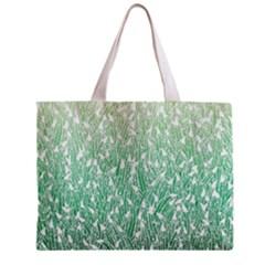 Green Ombre Feather Pattern, White, Zipper Mini Tote Bag by Zandiepants