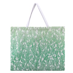Green Ombre Feather Pattern, White, Zipper Large Tote Bag by Zandiepants