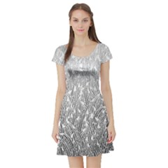 Grey Ombre Feather Pattern, White, Short Sleeve Skater Dress by Zandiepants