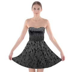 Grey Ombre Feather Pattern, Black, Strapless Dresses by Zandiepants