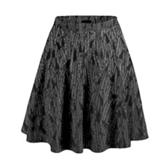 Grey Ombre Feather Pattern, Black, High Waist Skirt