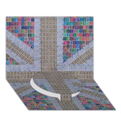 Multicoloured Union Jack Circle Bottom 3d Greeting Card (7x5)