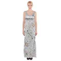 Oriental Floral Ornate Maxi Thigh Split Dress by dflcprintsclothing